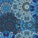 Темносиняя печать с безшовной картиной в восточном стиле Индийский, китайский, арабский, азиатский дизайн для оборачивать или Стоковые Изображения RF