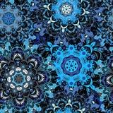 Темносиняя покрашенная безшовная картина с восточным флористическим orament Флористический восточный дизайн в ацтеке, turkish, Па Стоковые Изображения RF
