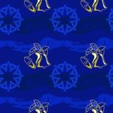 Темносиняя предпосылка, колокол и снежинка бесплатная иллюстрация