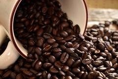Темнота зажарила в духовке конец кофейного зерна вверх Стоковая Фотография RF