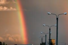 Темнота облака захода солнца радуги светлая Стоковые Фото