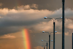 Темнота облака захода солнца радуги светлая Стоковое Фото