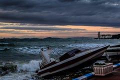 Темнота шторма в море Marmara - Турции Стоковая Фотография