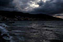 Темнота шторма в море Marmara - Турции Стоковая Фотография RF