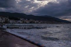Темнота шторма в море Marmara - Турции Стоковое Изображение RF