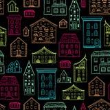 Темнота Lineart картины домов иллюстрация штока
