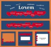 Темно-синее backround и красные сердца - установленный шаблон для средств массовой информации дизайна плаката, журнал знамени укр иллюстрация вектора