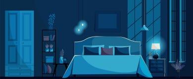 Темно-синий интерьер спальни с кроватью, nightstand, полкой, шкафом, лампой ухода за больным освещения и окнами Свет луны на стен иллюстрация вектора