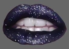 Темные губы с ярким блеском Стоковое фото RF