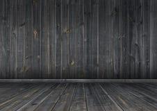 Темные деревянные стена и пол, текстура предпосылки Стоковые Изображения RF