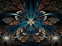 Темные и красочные цветок или бабочка фрактали Стоковые Изображения RF