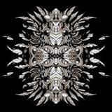 Темные картины в стиле шаманов с пер и листьями Стоковые Изображения