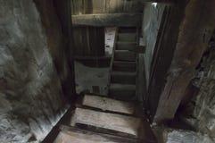 Темные лестницы погреба Стоковые Изображения