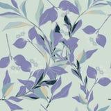 Темные пурпурные цветки кругов, голубых, зеленых и листья на предпосылке зеленого цвета армии Абстрактный цветочный узор в сирени иллюстрация вектора