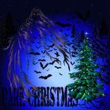 Темные рождественская елка и летучие мыши Стоковое фото RF