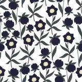 темные цветки Картина вектора безшовная для украшения Стоковая Фотография