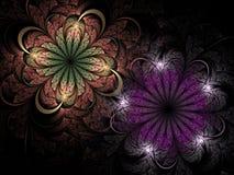 Темные цветки фрактали, цифровое художественное произведение Стоковое Изображение