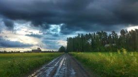 Темный ландшафт сельской местности Стоковые Изображения