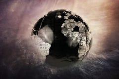 Темный глобус земли исчезает в вселенной Стоковое Фото