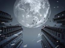 Темный город под полнолунием Стоковое Фото