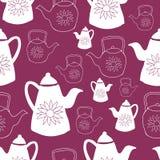 Темный - дизайн картины красных и белых чайников безшовный бесплатная иллюстрация