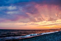 Темный заход солнца Стоковые Фото
