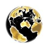 Темный золотой глобус в 3D Стоковые Изображения