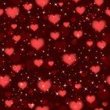 Темный - картина красных валентинок безшовная с сердцами Предпосылка вектора Стоковые Фото