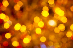 Темный коричневый цвет желтый и красный цвет запачкали света рождества Стоковые Изображения