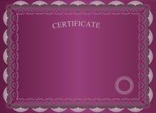 Темный - красный сертификат Стоковое Изображение