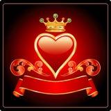 темный красный цвет сердца золота иллюстрация вектора