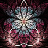 Темный красочный цветок фрактали Стоковые Фотографии RF