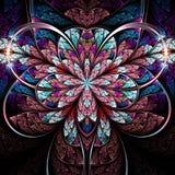 Темный красочный цветок фрактали Стоковое Изображение