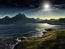 темный ландшафт фантазии Стоковое Изображение