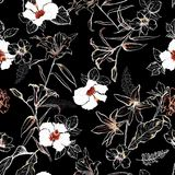 Темный лес в линии нарисованной рукой цветках эскиза lilly смешивает с wh иллюстрация штока