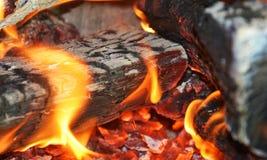 Темный огонь, пламена в печи, абстрактной предпосылке пламен Стоковое Фото