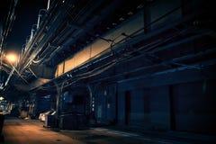Темный переулок города на ноче Стоковое Изображение RF
