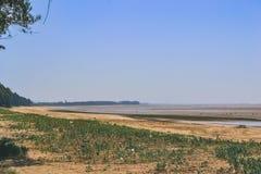 Темный пляж песка Стоковая Фотография RF