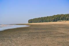 Темный пляж песка Стоковые Фотографии RF