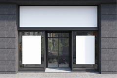 Темный - серый и белый фасад кафа, 2 плаката иллюстрация вектора