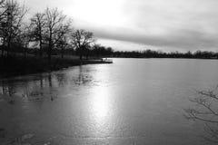 Темный скучный парк озера стоковое изображение