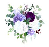 Темный фиолетовый сад гортензия поднял, белых и сирени, фиолетовая радужка, бесплатная иллюстрация