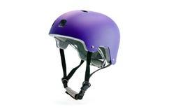 Темный фиолетовый шлем изолированный на белизне Стоковая Фотография