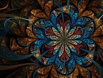 Темный цветок фрактали золота Стоковая Фотография