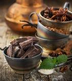 Темный шоколад, ваниль, ванильный сахар, какао Стоковое Изображение RF