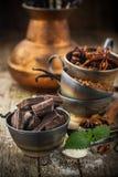 Темный шоколад, ваниль, ванильный сахар, какао Стоковые Фотографии RF