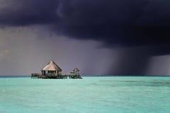 Темный шторм причаливая, Мальдивы Стоковое Изображение RF