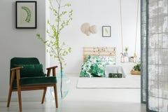 Темный ый-зелен стул в спальне стоковые фото