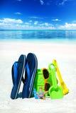 Темповые сальто сальто и игрушки пляжа Стоковое Изображение