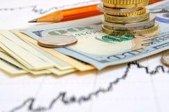 темпы роста девизов в долларах принципиальной схемы 3d понижаясь стоковое изображение